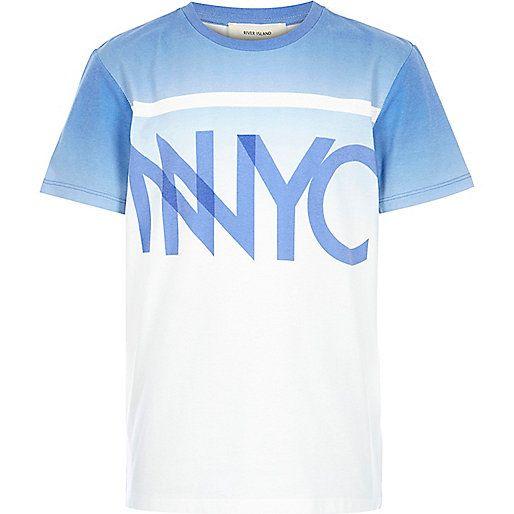 Boys blue faded NYC print t-shirt - print t-shirts - t-shirts - boys Size 6