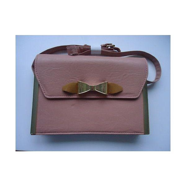 BNWOT Primark Pink Bow Satchel Shoulder Bag ❤ liked on Polyvore featuring bags, handbags, shoulder bags, pink shoulder bag, red handbags, satchel bag, man bag and handbags shoulder bags