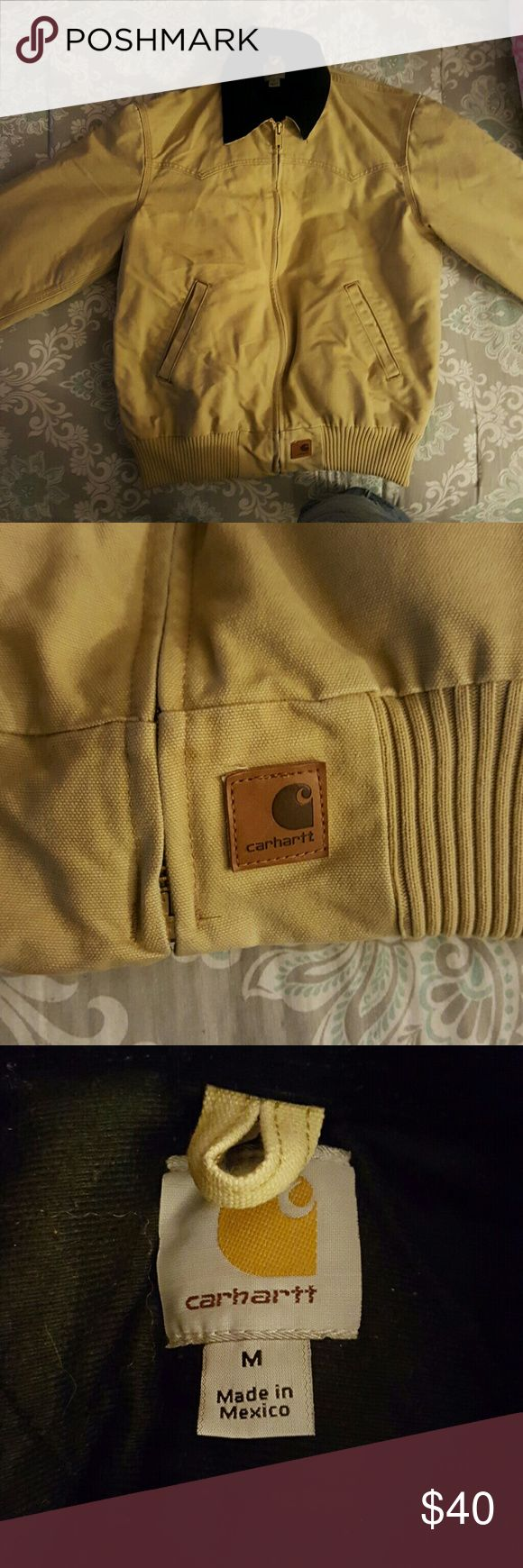 Carhartt Winter Jacket Medium Very Good Condition,  Light Tan, Black Quilted Liner Carhartt Jackets & Coats Military & Field