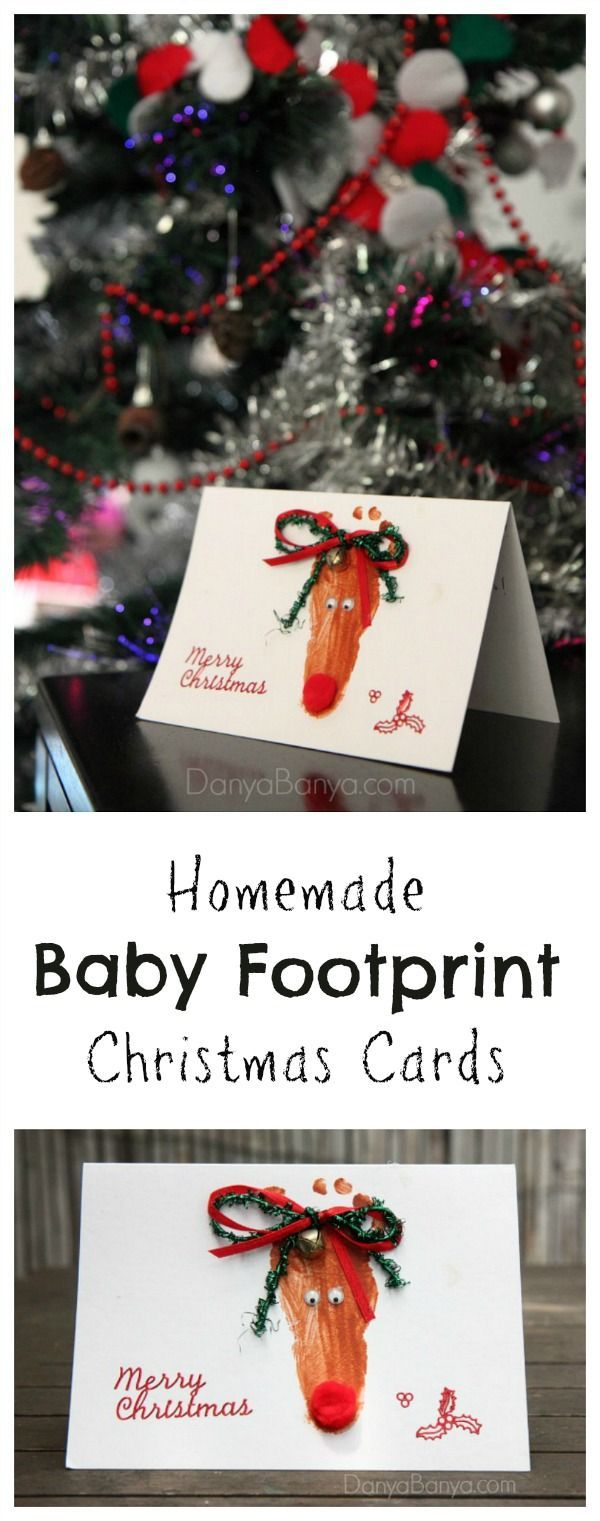 Homemade baby footprint Rudolph the Red-Nosed Reindeer Christmas cards or keepsake. Love how the teeny toes are the antlers!