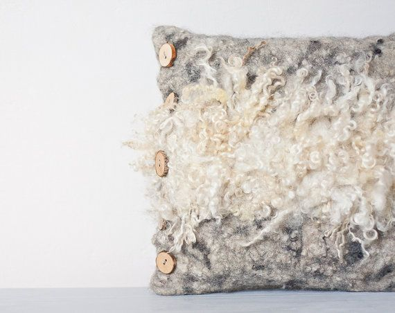 Felted Pillow Cover Fur eco friendly Country Home Decor Wood Oatmeal natural white gray Neutral Rustic Country OOAK tribal wild on Etsy, $159.86 CAD