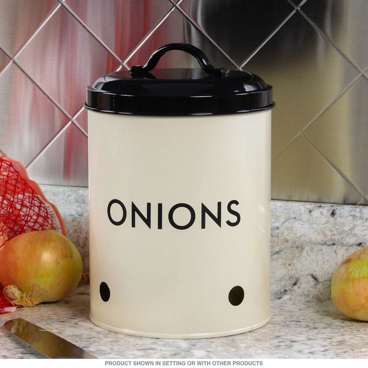 This art deco onion tin features a wonderful mix of modern and vintage style that looks great in any kitchen. Classic design with air circulation holes keep ingredients fresh without spoiling the decor. Food safe storage container. Made of powder coated, galvanized steel. Measures 5W x 7H x 5D inches.
