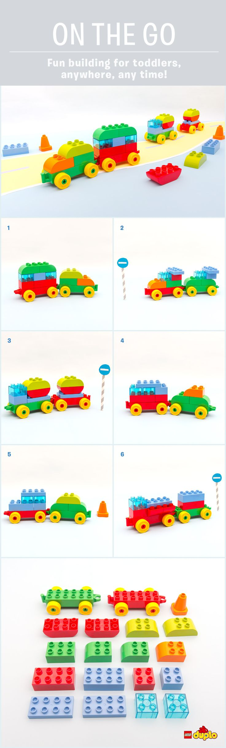 "Those famous words we all love to hear… ""are we nearly there yet?!"" Keep your toddlers entertained on the move, with these fun car builds. Only 15-20 DUPLO bricks required! http://www.lego.com/en-us/family/articles/on-the-go-road-trip-car-building-game-71d8c74de7d74c7eabda7e67bf7fbe03"
