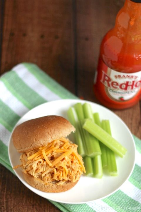 Everyone's favorite party dip - in a sandwich! Just as delicious as buffalo chicken dip, but much healthier and so easy – in the slow cooker!