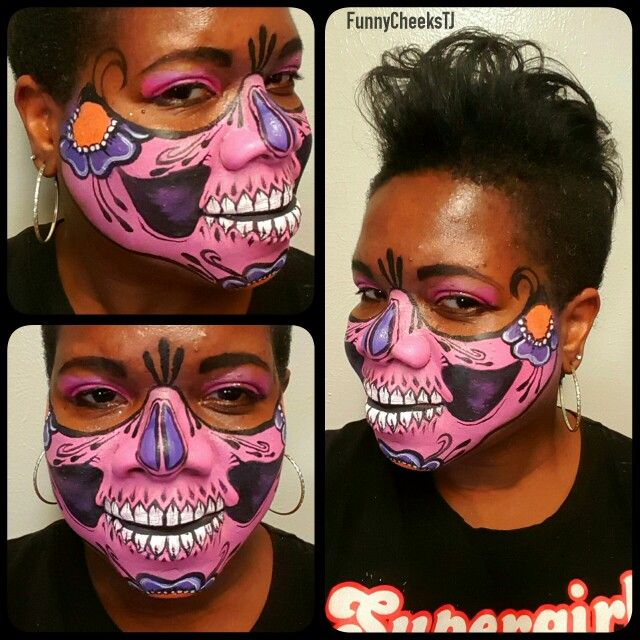 pink halloween half face sugar skull face painting inspired by ronnie mena painted by funnycheekstj dallas - Halloween Skull Face Paint Ideas