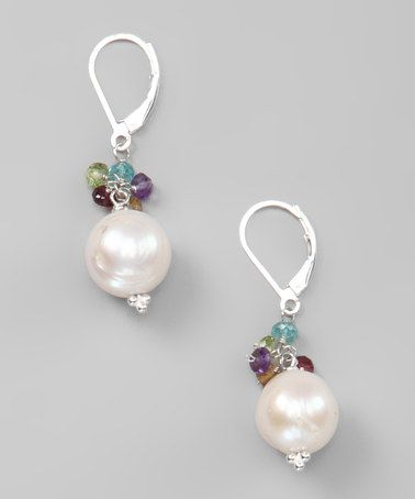 Pearl & Gemstone Cluster Sterling Silver Earrings by Liv Oliver on #zulily