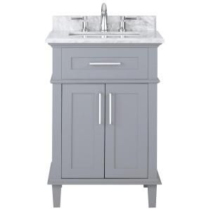 Home Decorators Collection Sonoma 24 in. W x 20.25 in. D Vanity in Pebble Grey with Marble Vanity Top in White with White Basin 9784800240 at The Home Depot - Mobile