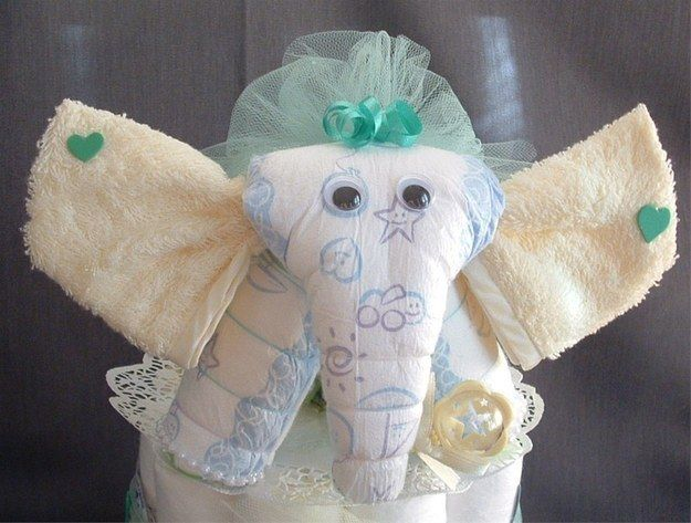 An elephant.   31 Diaper Cake Ideas That Are Borderline Genius