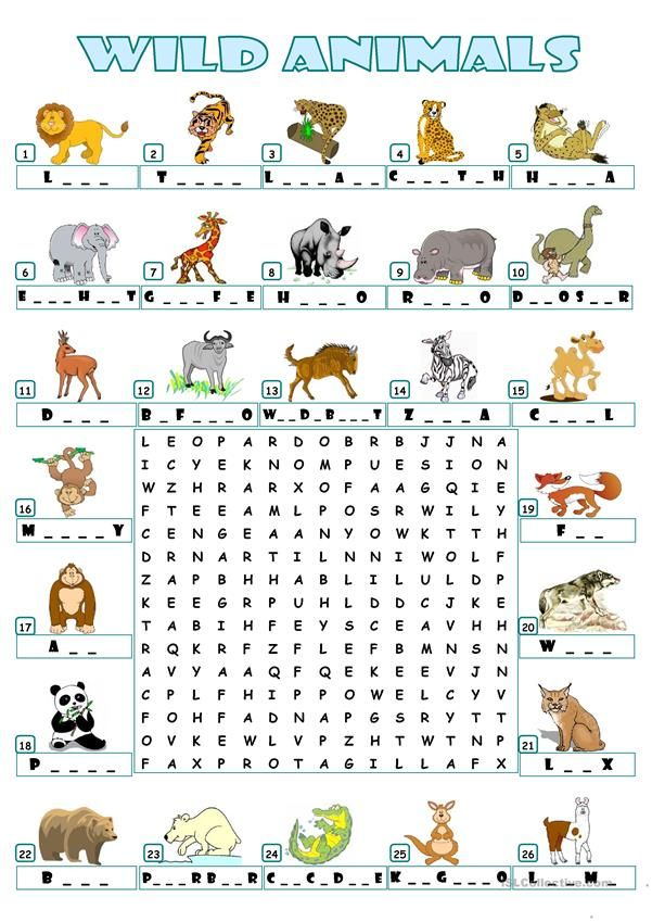 Wild Animals Wordsearch Animal Worksheets English Worksheets For Kids Animals Wild