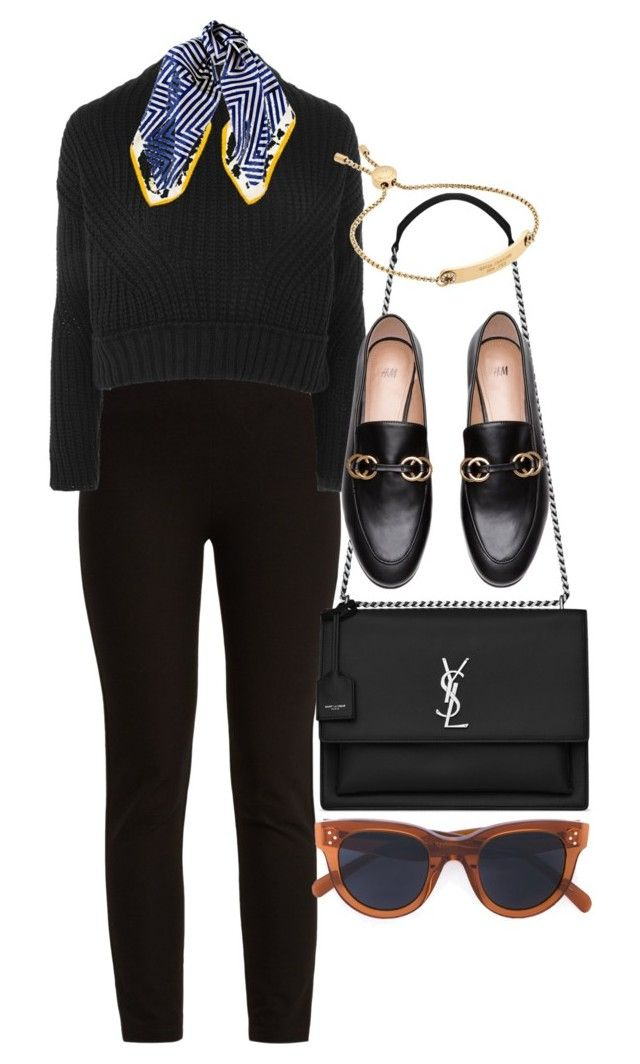 """""""Untitled #5175"""" by olivia-mr ❤ liked on Polyvore featuring Joseph, Topshop, Black, Yves Saint Laurent and CÉLINE"""