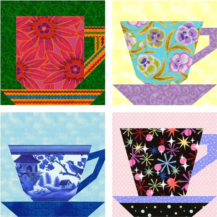 """Here's a collection of easy-as-pie tea and coffee cups to paper piece – each of the four designs is pieced as a singleunit. One8"""" (20.3cm) or 10"""" (25.4cm) block makes a nice potholder or mug rug. Piece a grouping of the four designs in different fabrics for a small hanging for your kitchen. The patterns…"""