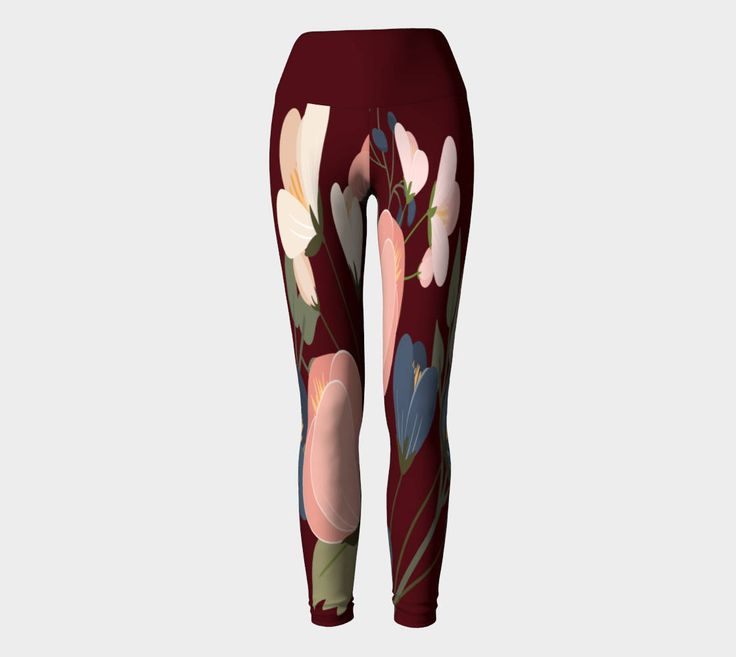 Burgundy Floral Legging, tights, gift for her, gift under 100, Canadian made by CreateBeing on Etsy