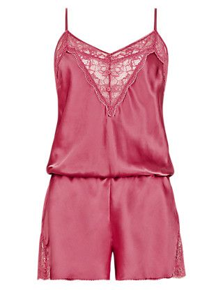Silk Teddy with French Designed Rose Lace ONLINE ONLY | M&S