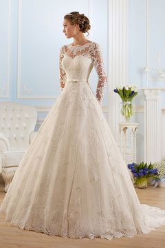 2016 Tulle A Line Long Sleeves Wedding Dresses Scoop With Applique And Sash