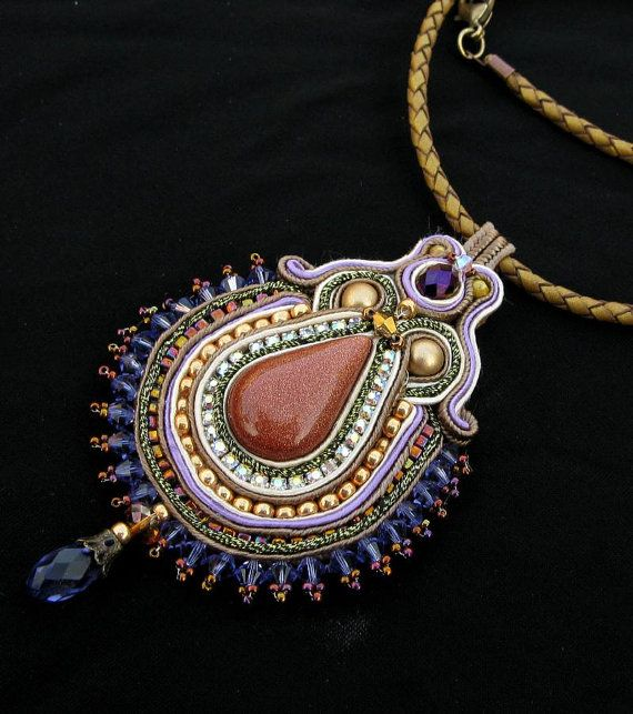 Soutache pendant in Purple Gold and Gold by CieloDesign on Etsy, $85.00