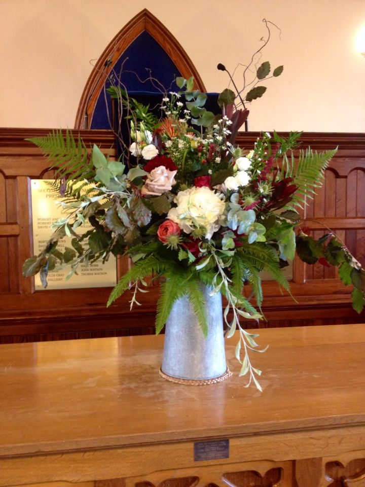 Wild And Rustic Jug By The Posy Barn Church Flowers In