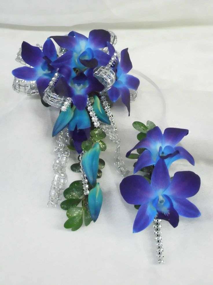 Prom flowers: Upper arm wrist corsage of blue orchids and ...
