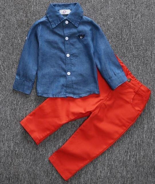 e5e88e7a Autumn children set fashion baby boys clothes set denim shirt long red pants  2pcs boy clothing sets kids clothes