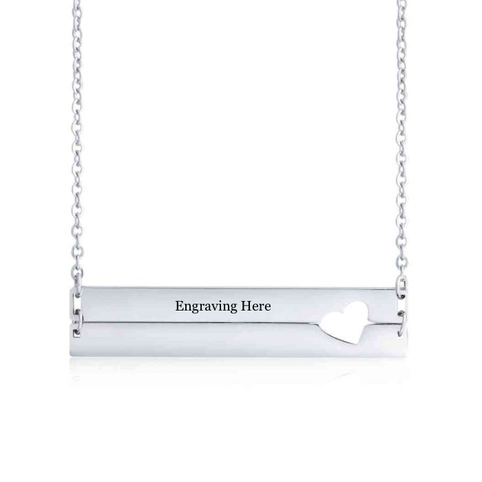 Post Included Aus Wide and to most international countries! >>>  Heart Cut Bar Necklace - Stainless Steel