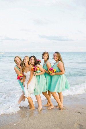 Aqua bridesmaids dresses #pensacolabeachbridalbliss