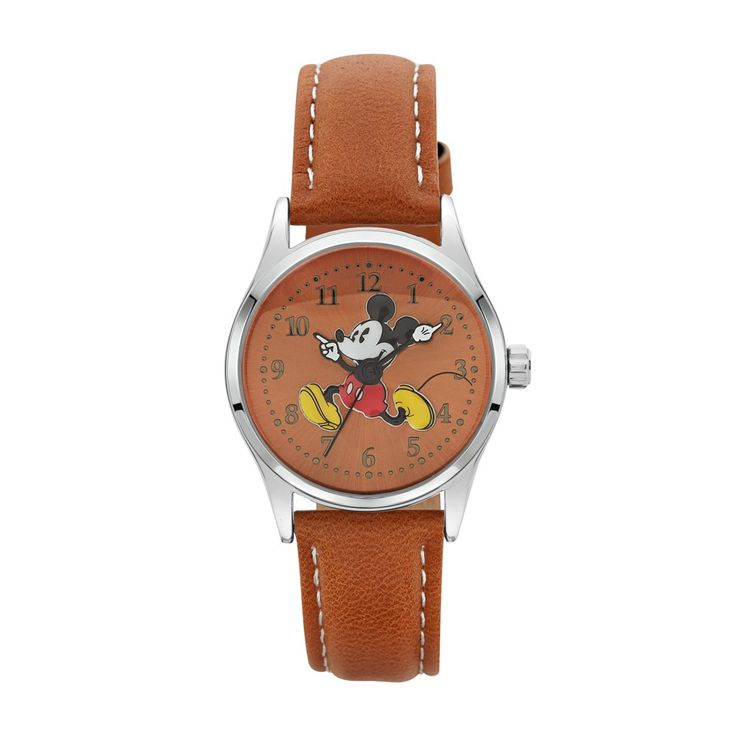 The Original Mickey Collection Watch - Silver + Tan 34mm
