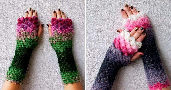 These Dragon Gloves With Crochet Scales Will Protect You When Winter Comes - http://creativityexplosion.com/dragon-gloves-crochet-scales-will-protect-winter-comes/