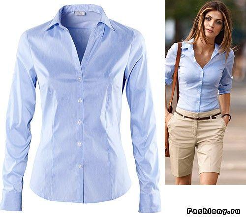 голубая рубашка женская с чем носить: 24 тыс изображений найдено в…