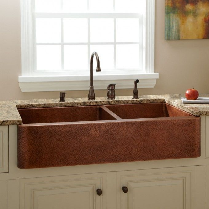 "42"" Fiona 60/40 Offset Double-Bowl Hammered Copper Farmhouse Sink"