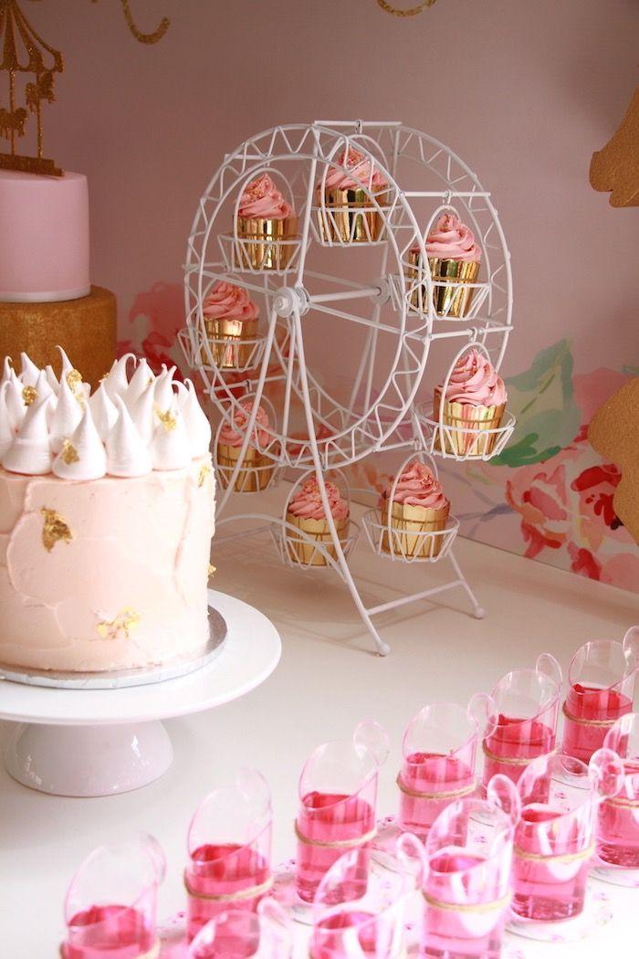 Dessert spread from a Floral Carousel Birthday Party on Kara's Party Ideas | KarasPartyIdeas.com (12)