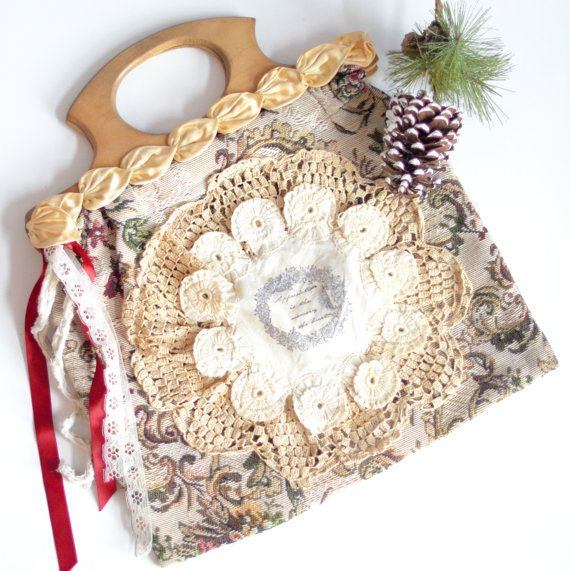 Vintage Shabby Tapestry handbag Wooden handled by BlackRainCouture