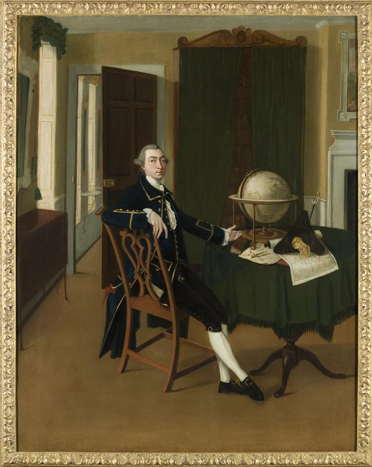 Unsigned painting, Portrait of Alexander Dalrymple, first Hydrographer of the British Admiralty, full length, in his East India Company sea-officer's uniform, seated at a tripod table pointing at a Blaeu globe of 1648, a map of Friesland and a pair of dividers and two hydrographic charts, oil on canvas in wooden frame with applied decoration, attributed to John Thomas Seton, c. 1765