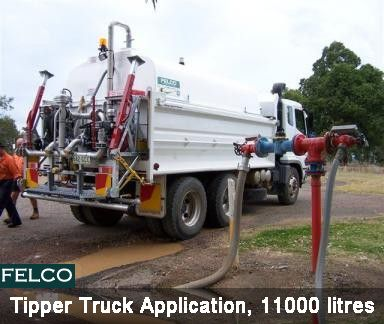 #Felco Manufacturing - #Tipper #Truck application...#Road #Watering #tanker, 11000 litres. Tanker can be filled from Council hydrant or from dam/creek by using on-board pump system.  http://goo.gl/15Pbn1
