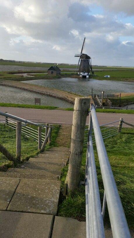 Poldermolen ten noorden van Oosterend Texel..