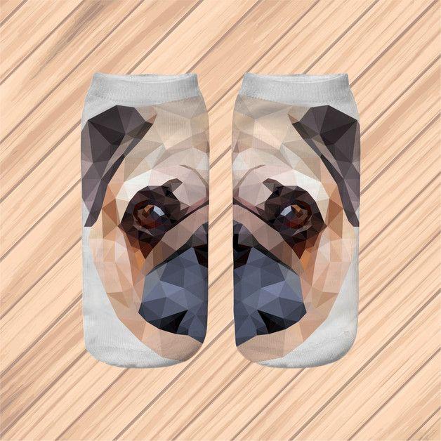 Skarpetki polygon PUGDOG CUTE stopki socks - KoloroveLOWE - Skarpetki