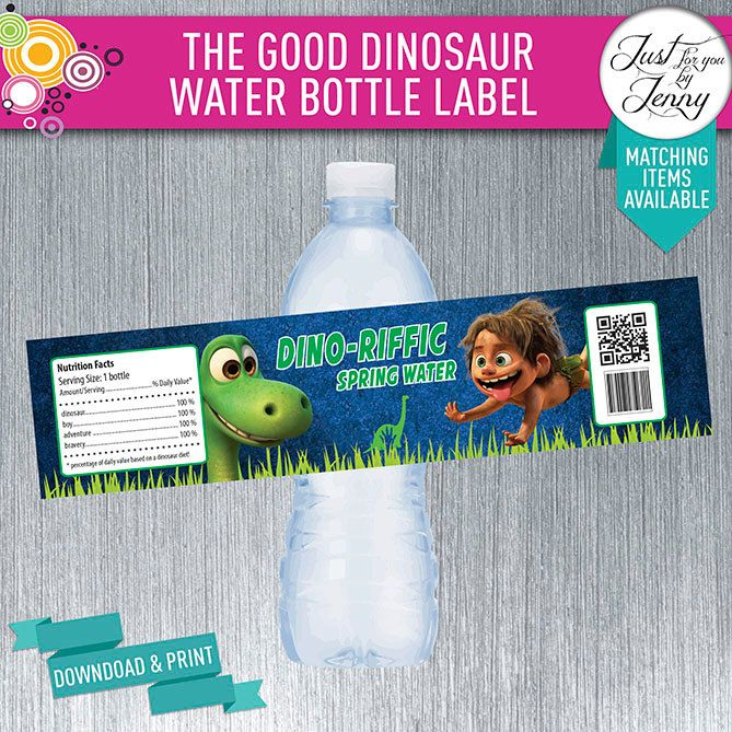 THE GOOD DINOSAUR Water Bottle label - Digial download by JustForYouByJenny on Etsy