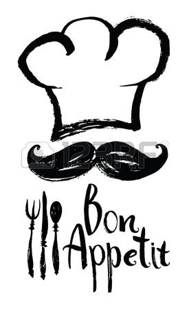 Lettering Bon Appetit Design card with chef hat and moustache