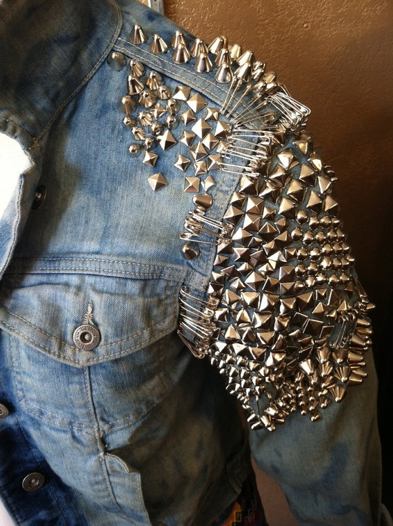 studded jacket studded jean jacket with safety by prettyghoulish, $125.00