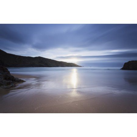 Sunlight reflecting on wet beach at Boyeeghter Bay County Donegal Ireland Canvas Art - Peter McCabe Design Pics (19 x 12)