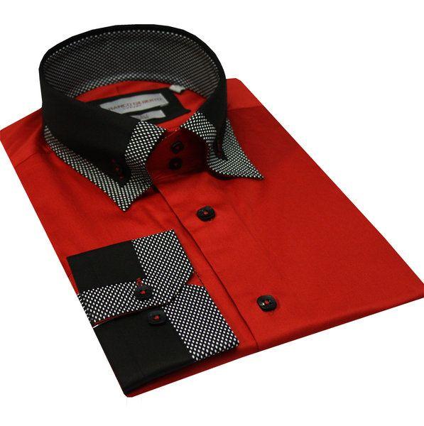 Italian Design Men Formal Casual Shirts Designed High Collar Red Colour