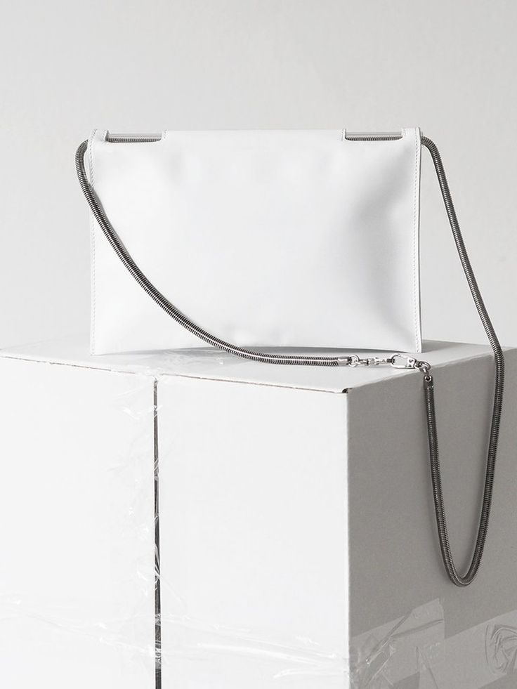 Flat Fold Bag / white leather with gunmetal snake chain / by Aetelier