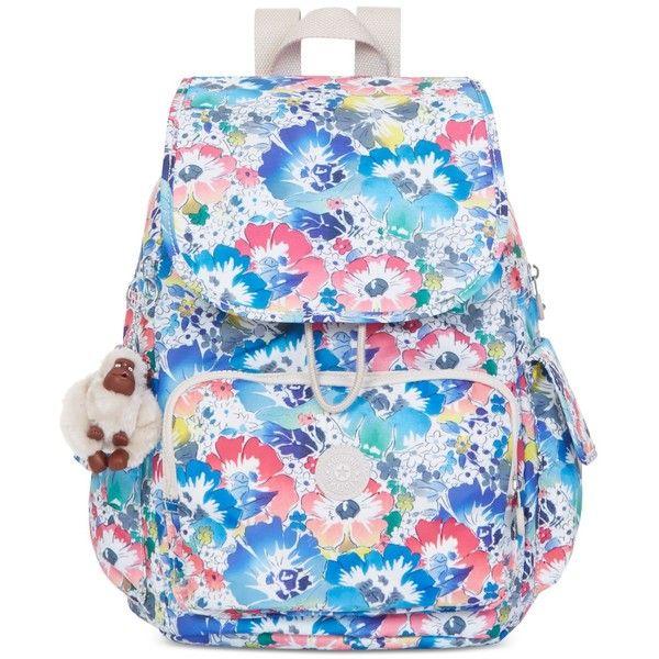 Kipling Ravier Backpack ($124) ❤ liked on Polyvore featuring bags, backpacks, in bloom, pocket backpack, blue backpack, pocket bag, kipling and nylon backpack