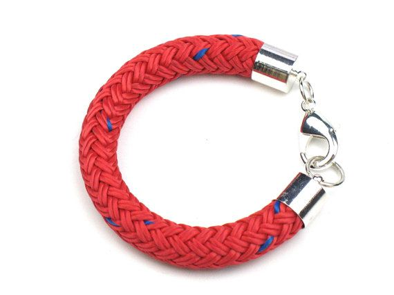 Red Chunky Rope Bracelet, Red Blue Braided Boating Cord Marine Rope, Womens Nautical Handmade Textile Jewelry Gift for Her by elle and belle