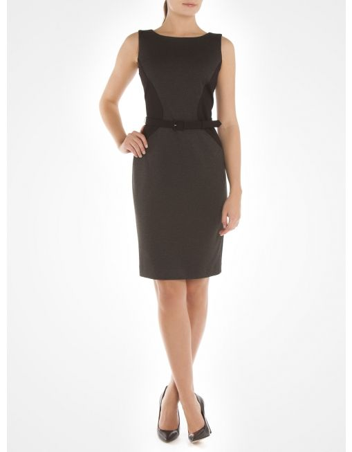 Sleeveless cinched dress with belt - Grey Dresses @Boutique JACOB #JACOBGIFTS