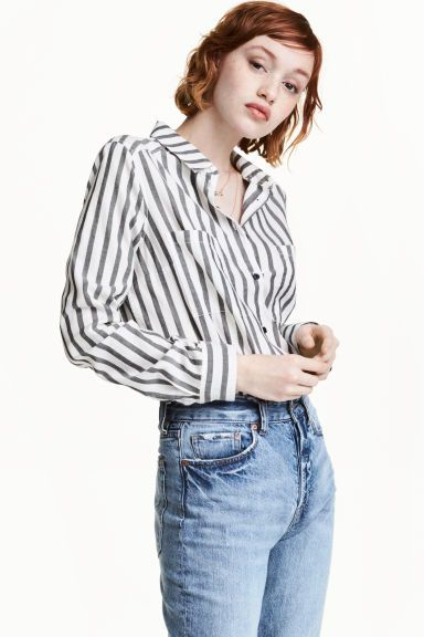 Cotton shirt - White/Black striped - Ladies | H&M GB