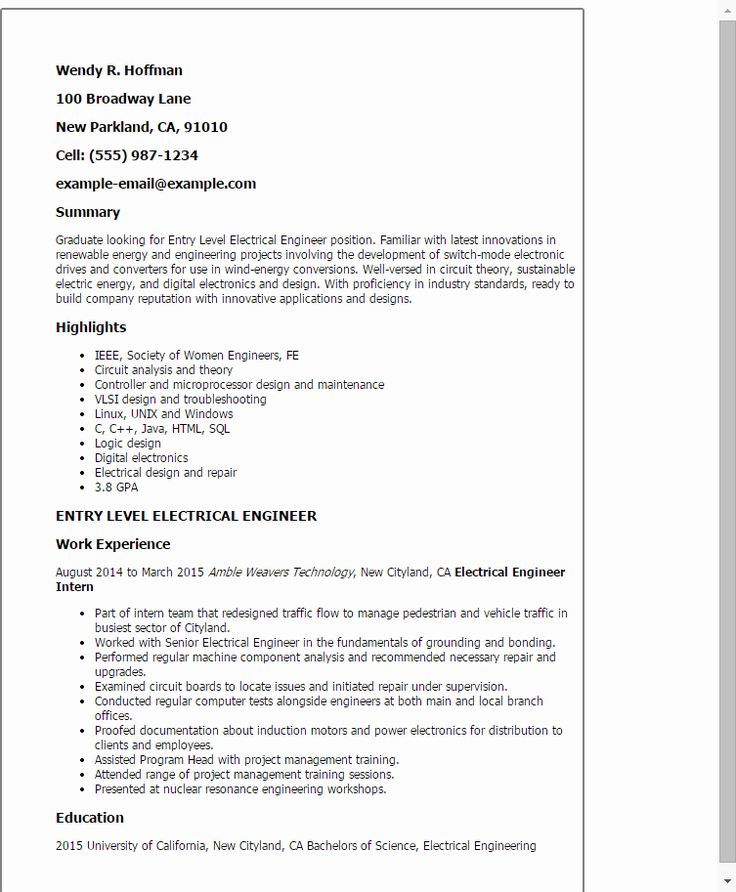 20 Electrical Engineering Student Resume in 2020