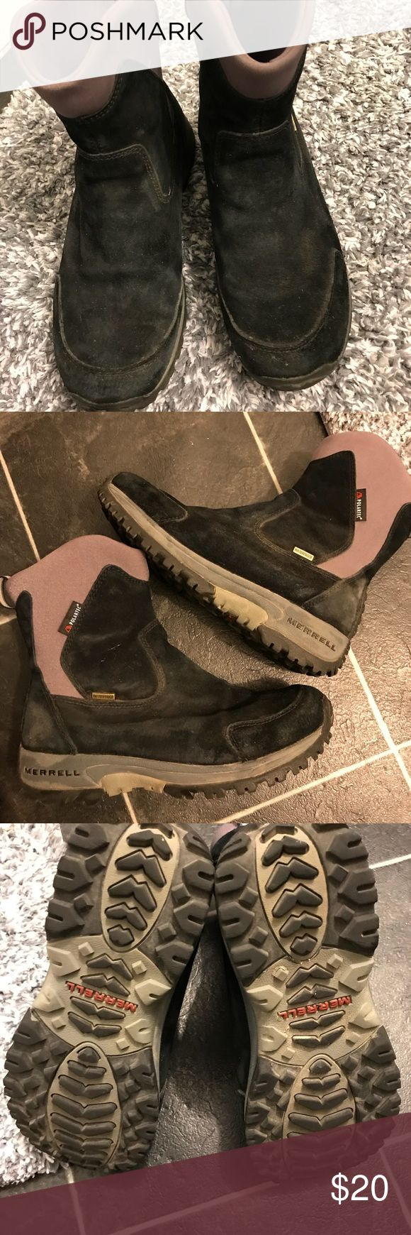 Merrill Thinsulate boots Slightly faded on suede in some areas.  Worn several times but still lots of life left.  Soles great condition.    No holes or visible damage.  Size 6.5 women's Merrell Shoes Winter & Rain Boots