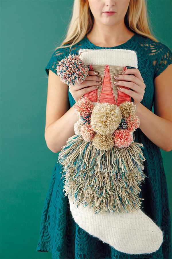 Gorgeous DIY woven Christmas stocking. This is a really special project to make for loved ones.
