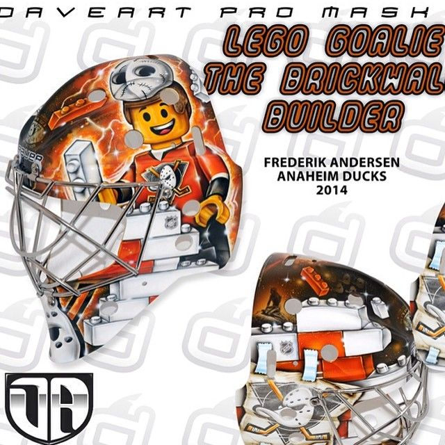 "Frederik Andersen, Anaheim Ducks, NHL, 2014. LEGO Goalie - The Brickwall Builder.  ""Yes when you are a NHL goalie from Denmark, the land of LEGO, just like Frederik Andersen of the Anaheim Ducks, then you truly are a LEGO goalie :) Me and Frederik often brainstorm cool mask design ideas together, and this idea popped up…"" David Gunnarsson - Airbrush Artist"
