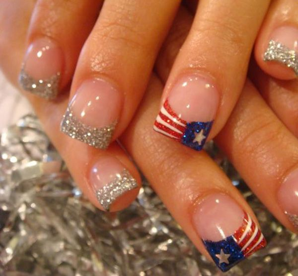 If you are tired of the classic white french tips, you can always go with silver tips for added fab effect. But since you want to celebrate the Fourth of July, a flag inspired tip would also do the work.