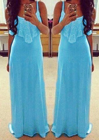 Alluring Spaghetti Strap Sleeveless Spliced Solid Color Women's Dress Summer Dresses | RoseGal.com Mobile